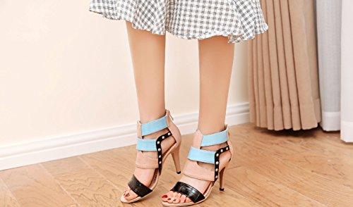 34 Heels Römersandalen 46 High Damenschuhe Mode Sexy Rosa Größe Farbe Niet 0cHqYp