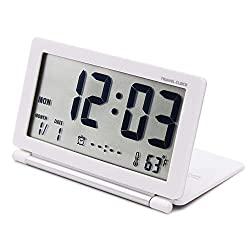 OSMOFUZE Digital Travel Alarm Clock Mini Foldable Portable Alarm Battery Operated Calendar Temperature with Repeating Snooze for Kids and Elders. (White)