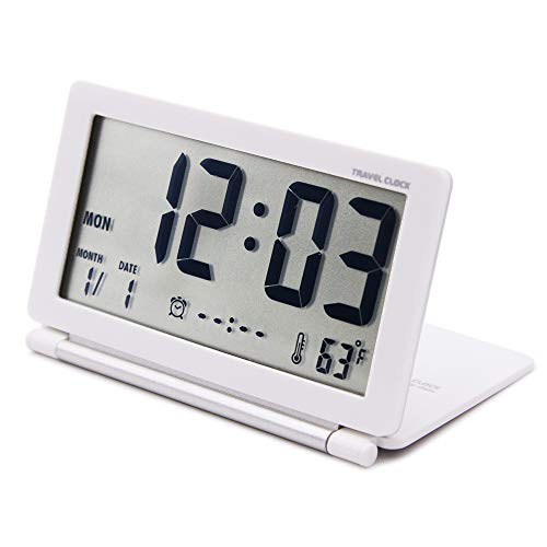 OSMOFUZE Digital Travel Alarm Clock Mini Foldable Portable Alarm Battery Operated Calendar Temperature with Repeating Snooze for Kids and Elders. (White) ()