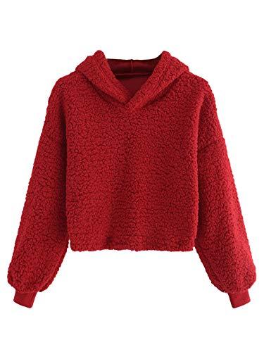 (Romwe Women's Casual Long Sleeve Fleece Pullover Crop Hooded Teddy Sweatshirt Red M)