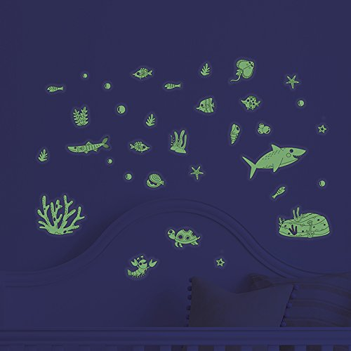Under the Sea Decorative Peel Glow in The Dark Ocean Theme Wall Art Decals 81 pieces Luminous Sticker at Night, Perfect Ceiling or Wall Decor For Kids' Bedroom by POPIGIST