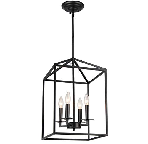 Cage Pendant Light Four-Light Hall Candle-Style Chandelier Ceiling Light Fixture for Hallway Dinning Room Kitchen Bar Restaurant (H18