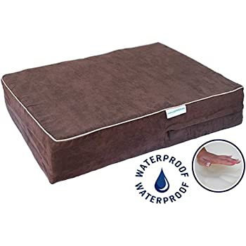 Go Pet Club Solid Memory Foam Orthopedic Pet Bed with Waterproof Cover, 44 by 32 by 4-Inch, Chocolate