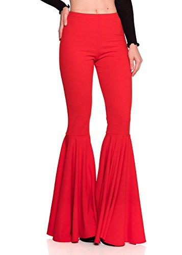 - Women's J2 Love Mermaid Ruffle Flare Pants, Small, Red