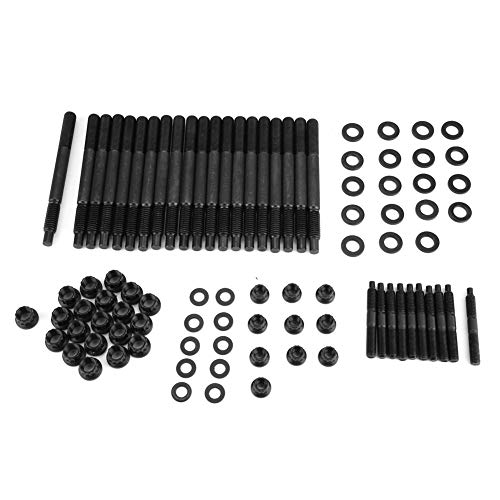 Qiilu Cylinder Head Bolt Set, Car Cylinder Head Stud Kit for Chevrolet LS1 LS3 2004-UP 5.3L 5.7L 6.0L Engines