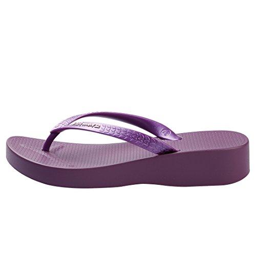 High Flip Fashion Stylish Wedge Sandals Summer Slippers Flops Hotmarzz Platform Grape Heel Women's Beach EqwC5CY