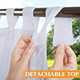 RYB HOME Outdoor Curtain for Patio, Detachable Sticky Tab Top for Easy Haning & Unsling, Waterproof Outside Porch White Sheer Drape, 1 Curtain Rope, W 54 x L 84 inch Long: more info