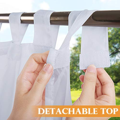 RYB HOME Outdoor Sheer Curtain Sticky Tab Top for Hanging & Unsling Without Taking Down The Rod, White Voile Oudoor Indoor Curtiain for Patio/Gazebo/Porch, 1 Free Rope, 54 x 96