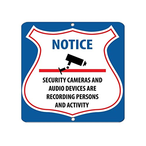 (Stevenca Metal Road Sign Security Cameras and Audio Devices are Recording Persons Wall Decor Retro Tin Sign Aluminum for Wall Decor 11.8x7.8 Inch)