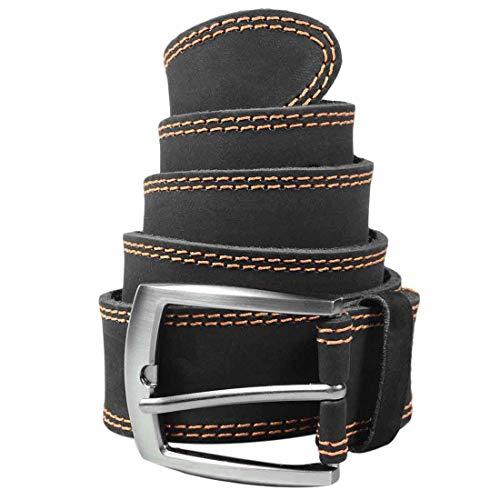 Hide & Drink, Two Row Orange Stitch Leather Belt (1.5 in.) Wide, Handmade Includes 101 Year Warranty :: Gato Negro Pumpkin (Size 32)