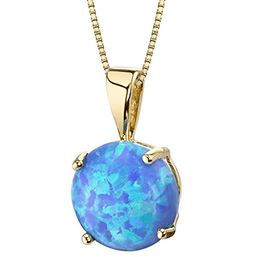 14 Karat Yellow Gold Created Blue Opal Solitaire Pendant