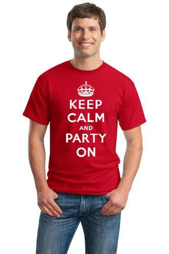 KEEP CALM AND PARTY ON Unisex T-shirt / Funny Party, Beer Drinking Tee Shirt