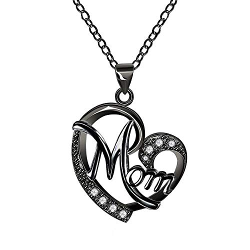 ORANGELOVE 18K Black Gold Plated Jewelry Love Mom Necklace Chain Pendant (Black Plated) (Black Necklace Mom)