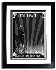 Address Hotel Down Town- Black And White With Silver Border F07-m (a5) - Framed