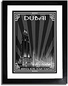 Address Hotel Down Town- Black And White With Silver Border F07-nm (a5) - Framed