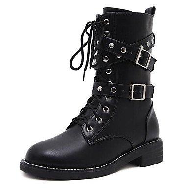 's EU synthetische CN 7 4 37 Springerstiefel UK Schuhe Stiefel Frauen 5 Microfaser Komfort Schwarz für Herbst Schwarz PU Winter 37 5 Casual UNS 6 QTZS 5 Hwt5A4qq