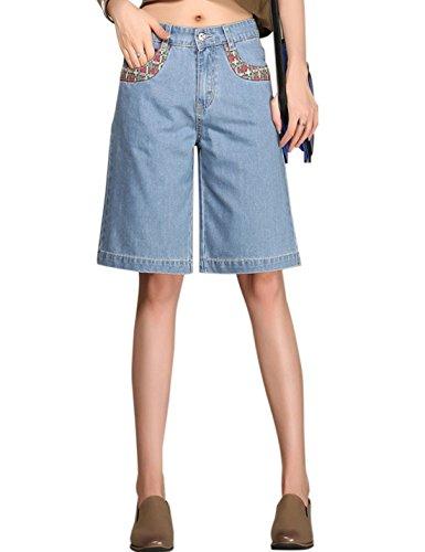 Tanming Women's Embroidered Knee Length Denim Wide Leg Pants Bermuda Shorts (Medium, Light Blue)