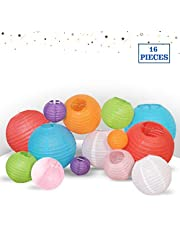 """Multicolor Decorative Party Paper Lanterns - 16-Pack - Hanging Paper Lantern Decorations 4"""", 6"""", 8"""", 10"""" Set - Outdoor, Indoor Party Paper Lanterns Kit - Easy-to-Assemble & Hang - Perfect Décor Gift"""