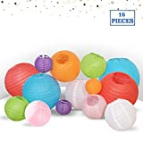 Multicolor Decorative Party Paper Lanterns - 16-Pack - Hanging Paper Lantern Decorations 4', 6', 8', 10' Set - Outdoor, Indoor Party Paper Lanterns Kit - Easy-to-Assemble & Hang - Perfect Décor Gift
