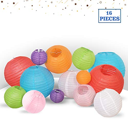 Multicolor Decorative Party Paper Lanterns - 16-Pack - Hanging Paper Lantern Decorations 4