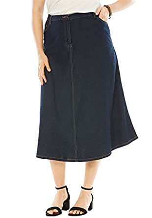 Roamans Women's Plus Size Perfect Denim A-Line Skirt Indigo,12 W