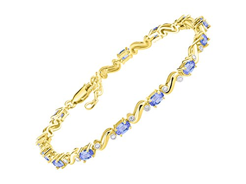 (Stunning Tanzanite & Diamond S Tennis Bracelet Set in Yellow Gold Plated Silver - Adjustable to fit 7