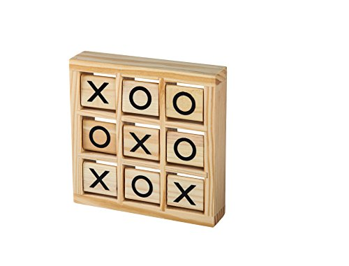 Wooden Tic Tac Toe Game - Fun Travel Games Toys for Kids Children - 2 Player Handheld Brain Challenge Game Outdoor Indoor Brand Perfect Life (Wooden Tic Tac Toe Game)