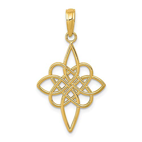 (14k Yellow Gold Irish Claddagh Celtic Knot Pendant Charm Necklace Religious Cross Passion Fine Jewelry Gifts For Women For Her)