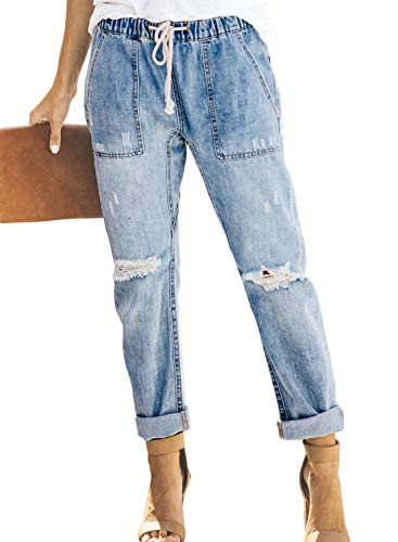 Sidefeel Women Distressed Pockets Denim Joggers Elastic Drawstring Waist Jeans Pants Small Light -