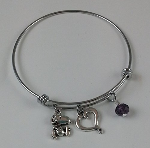 Snoopy Stainless Steel Adjustable Bangle Charm Bracelet with Open Heart and Purple Dangle.]()
