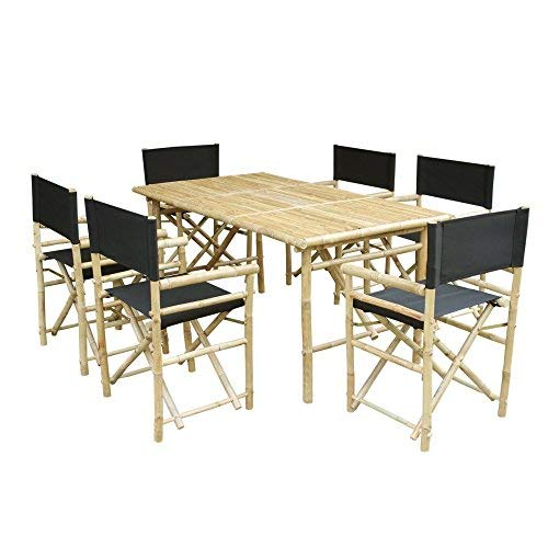 Zew SET-015-0-02 Bamboo Rectangular Table with 6 Director Chairs by Zew