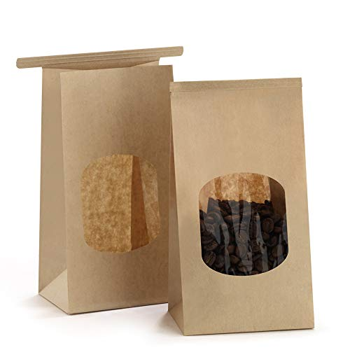 BagDream Bakery Bags with Window Kraft Paper Bags 50Pcs 3.54x2.36x6.7 Inches Tin Tie Tab Lock Bags Brown Window Bags Coffee Bags Cookie Bags Treat Bags (Kraft Easy Desserts Christmas)