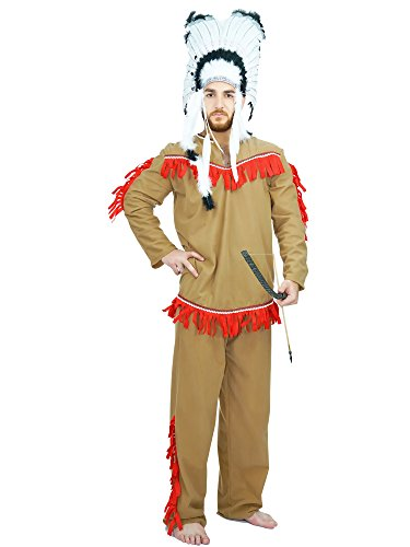 [Men's Native American Adult Costume (One Size, Khaki)] (Male Indian Costumes)