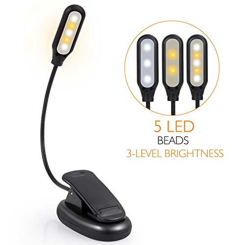 Stripsun Reading Lights, 5 LED Clip On Book Light with 3 Brightness Eye-Care, 360° Adjustable Rechargeable Reading Lights for Books in Bed, For Kids, Bookworms and Travel by Stripsun