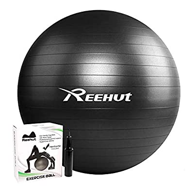 REEHUT Anti-Burst Core Exercise Ball with Pump & Ebook for Yoga, Balance, Workout, Fitness- 55cm 65cm 75cm by REEHUT