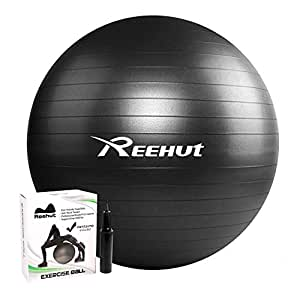 Reehut Exercise Ball for Fitness, Stability, Balance & Yoga - Workout Guide & Quick Pump Included - Anti Burst Professional Quality Design Black 55cm