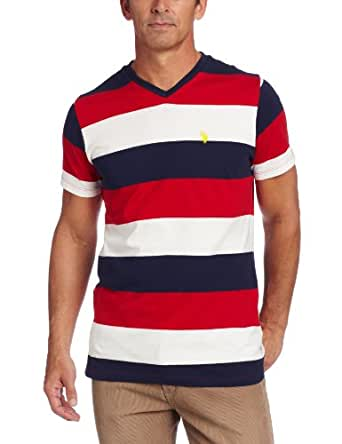 U.S. Polo Assn. Men's Short Sleeve Striped Embroidered V-Neck T-Shirt, Engine Red, X-Large