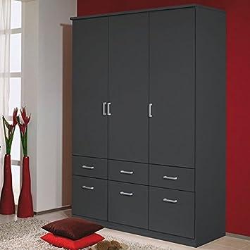 Kleiderschrank grau metallic 3 Türen B 136 cm Schrank ...