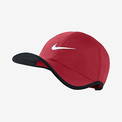 Nike Unisex Dri-Fit Feather Light 2.0 Tennis Cap Hat-Red/Black-Adjustable (Womens Hat Light Feather)