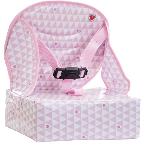 - Baby-To-Love Easy Up, Portable High-Chair Girl Space Saver Feeding Booster Seat for Table (Pink Hearts)