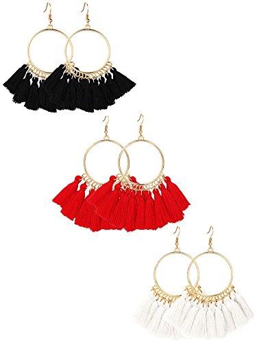 Gejoy Tassel Hoop Earrings Fan-shaped Drop Earrings Dangle Eardrop for Women Girls Party Bohemia Dress Accessory, 3 Pairs (black, red, beige)