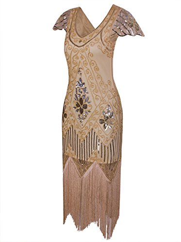 Vintage Dress Cocktail Vijiv V Flapper Beaded With Women's Sequin Long Neck 1920s Gatsby Sleeves Art Yellow Deco POEOrqw