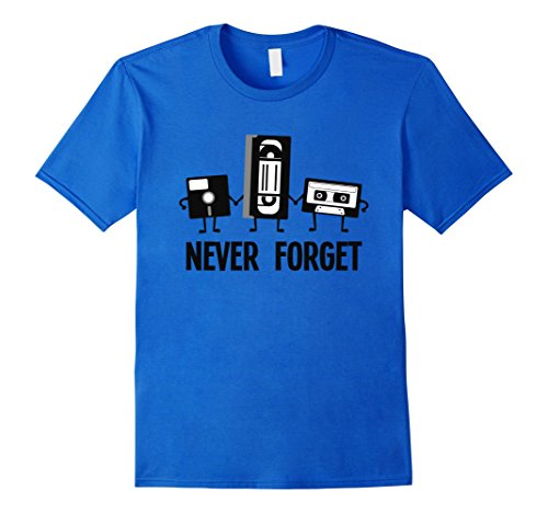 Men's Retro Eighties 80's Nerd Tee, Never Forget by Zany Brainy  2XL Royal Blue (80s Style Guys)