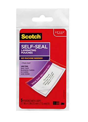 3M Scotch Self-Sealing Laminating Pouches, Bag Tags with Loops, Glossy, 5 Pouches (LS853-5G) - LS8535G