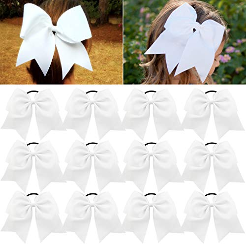 Large Cheer Bows White Ponytail Holder Girls Elastic Hair Ties 8