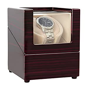[Upgrades]CHIYODA Single Wooden Watch Winder with Quiet Motor, Battery Powered or AC Adapter-12 Rotation Modes
