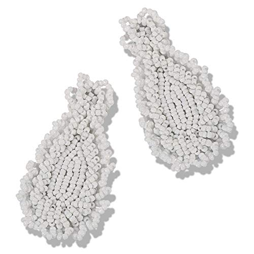 (Statement Drop Earrings - Bohemian Beaded Round Dangle Earrings Gift for Women (LongTear white))