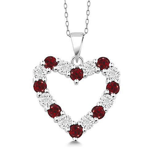 Gem Stone King Diamond and Red Garnet 925 Sterling Silver Heart Shape Pendant Necklace with 18 Inch Silver -