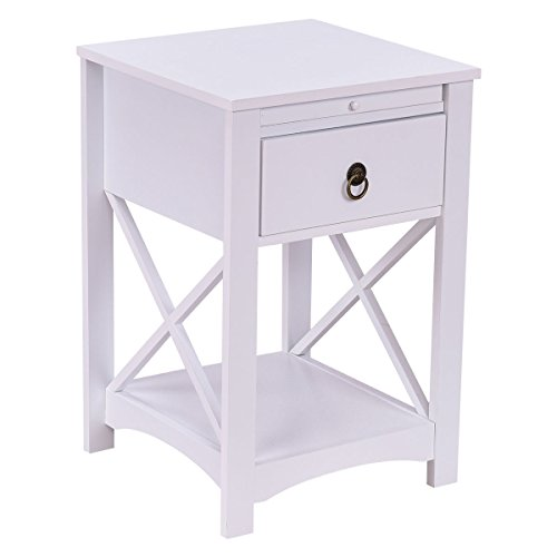 Casart Night Stand Side Table Wood End Table Slide Tray Furniture with Drawer - Day Table Night Furniture And End