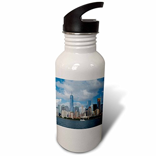 3dRose Danita Delimont - Cities - New York, New York City. Downtown cityscape with the Freedom Tower. - Flip Straw 21oz Water Bottle - Water Tower Downtown